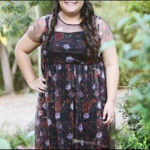 Torrid black floral dress (size 2)